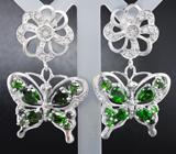 Чудесные серебряные серьги «Бабочки» с диопсидами