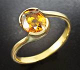 Золотое кольцо c золотистым сфеном высокой дисперсии 1,39 карат