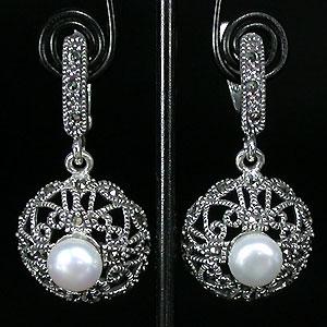 серьги с жемчугом серебро фото